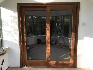 Sliding external wooden doors
